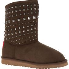 LOVE MOSCHINO Women's Brown Studded Faux Fur Boots UK 5 EU 38