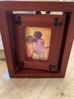 "Disney Mickey Mouse Ears Collectible Wood 2.5"" x 3.5"" Rotating Picture Frame"