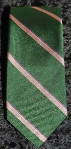 "POLO RALPH LAUREN Preppy Green w Pink Stripe Silk Tie 56 X 3"""