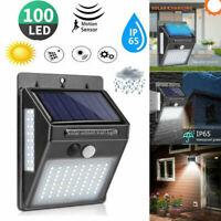 Outdoor Solar Lights Motion Sensor Wall Light Waterproof Garden Yard Lamp 100LED