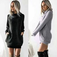 Newest Women Chunky Knit Sweater Dress Roll Neck Jumper Shirt Long Tops Knitwear