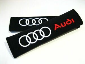 Pair of 2x Audi seat belt shoulder pads covers buckle safety cushion pads
