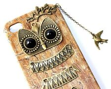 For iPHONE 4 4G 4S - HARD PROTECTOR FITTED SKIN CASE GOLD BRONZE METAL OWL CHAIN