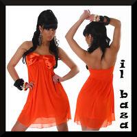 vestido de mujer mini corto lazo satén colores negro,blanco,naranja talla única