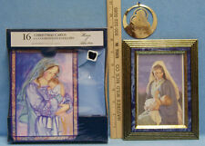 16 Christmas Cards & Envelopes Gold Ornament & Framed Picture of Mother & Baby