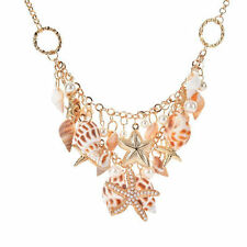Fashion Women Beach Shell Pearl Starfish Chunky Cluster Statement Chain Necklace