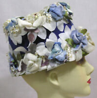 Vtg Ladies Bucket Hat w Blue White Millinery Flowers Wide Velvet Ribbon 1960s
