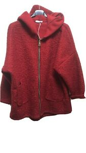 BNWOT Made In Italy Red Zip Up Teddy Hooded Jacket One Size