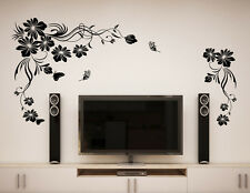 57000184 | Wall Stickers Beautiful Black Flowers Vine With Butterfly