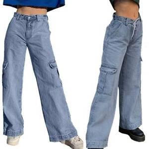 Womens High Waist Wide-Leg Denim Jeans Baggy Cargo Pants Casual Long Trousers