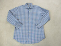 Peter Millar Button Up Shirt Adult Large Blue Orange Plaid Office Casual Mens