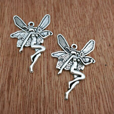 5pcs Tibetan Silver Plate Butterfly Fairy Charms Bead Pendant Jewelry Making