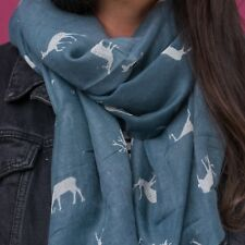 STAG DEER FAWN ANTLER PRINT WOMENS LADIES BLUE WINTER SOFT SCARF