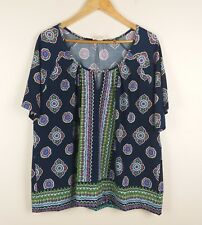 Beme Size Small S 16 Top Blue Floral Paisley Short Sleeve Stretch Blouse