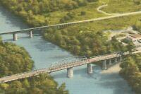 Vintage Linen Postcard Oconee River Dublin Georgia GA Bridge Road Highway