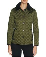 Burberry Ashurst Shearling Collar Quilted Jacket Coat Bright Moss Green Size XS