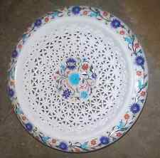 """12"""" Marble White Dry Fruit Bowl Rare Marquetry Filigree Art Home Gifts Art H2823"""