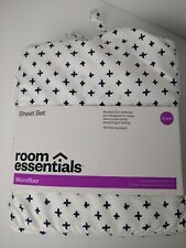 Queen Sheet Set Count Room Essentials Microfiber White with Navy Pattern NEW