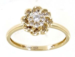 Solid Real Natural Diamond 14K Yellow Gold 0.19CT Floral Fine Ring For Women