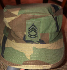Usgi Woodland Camo Army Hot Weather Bdu Cap With Insignia 7 3/8� Excellent Used