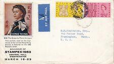 E 3241 Reino Unido Cubierta de aire de marzo de 1963 a Estados Unidos, Annigoni HK retrato Cubierta stampex UK