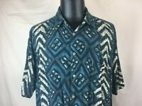Kahala Hawaiian Aloha Casual Shirt 100% Rayon Men's XL Made in USA Blue Green