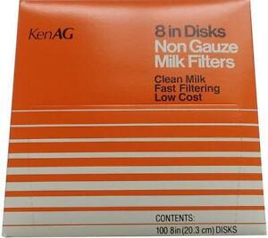 Milk Strainer Filter Disks, 8 Inch,  Box of 100, New *KenAg*