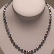 Brand New hand strung 6-7 mm black fresh water cultured Pearl necklace, 24 inch.