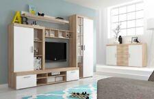 Living room furniture set display glass cabinet shelf Tv unit Led light white