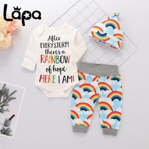 Lapa Baby Girl Boy Rainbow Outfits Long Sleeve Romper Tops Pants Hat Set Clothes