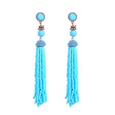 Boucles d`Oreilles Doré Super Long Pompon Mini Perle Bleu Turqoise 13cm XX22