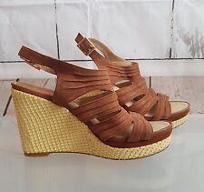 Nine West wedge heel shoes UK sz 5 ( 7M) Nigel Brown Leather upper wedges