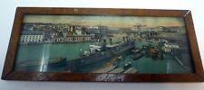 1930s Wood Framed Picture Le Port De Guerre Brest 6.75 x16
