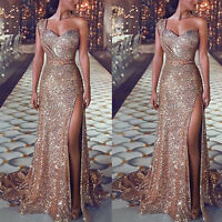 Womens V-neck Glitter Long Prom Party Dress Formal Evening Gown Wedding Dresses