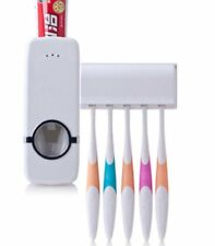 Auto Automatic Toothpaste Dispenser+ 5 Toothbrush Holder Set Wall Mount Stand