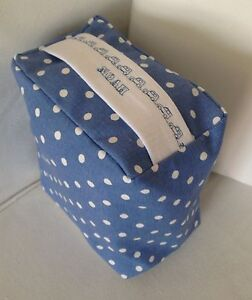 NEW BLUE WHITE SPOTTY FABRIC DOOR STOP  ..PERSONALISED ..UNFILLED