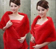 New Red ivory White Faux Fur Jacket Wrap Shrug Bolero Shawl Cape*Bridal Wedding