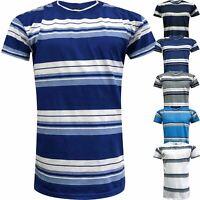 Mens Stripe Top Tee Shirt Summer Beach Crew Neck Short Sleeve Striped T-Shirt