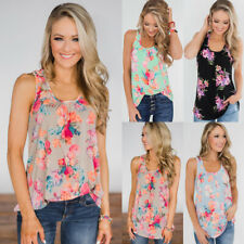 UK Womens Casual Holiday Cami Blouse Vest Ladies Tee Shirt Floral Basic Tops