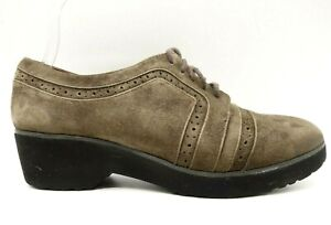 Gentle Souls Brown Leather Lace Up Wingtip Block Heel Oxfords Shoes Women's 8 M
