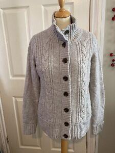 Fat Face Ladies Cardigan Teddy Fleece Lined Grey Knit Coatigan Size 14 Lambswool