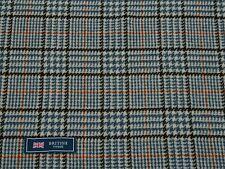100% Lana Tweed Tela, Blanco/Azul/negro diseño a cuadros-hecho En Inglaterra