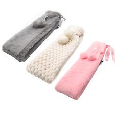 Wärmflasche mit Bezug aus Plüsch-Bettflasche Wärmekissen kuschlig faltbar ca. 2L