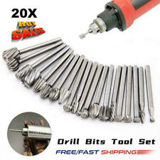 Steel Rotary Burrs High Speed Wood Carving Drill Bits Tool For Dremel Set 20pcs