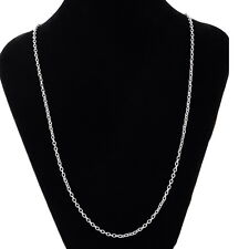 NEW 1PC Stainless Steel Lobster Clasp Silver Tone Cross Chain Necklace 51.7cm DS