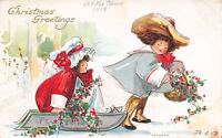 Bertha E Blodget Victorian Christmas~BEB~Boy Pulls Girl on Sled~Red Holly Berry
