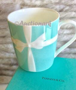 Tiffany & Co. Blue White Ribbon Bone China Mug Embossed Bow Japan Made New Cup