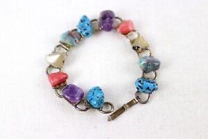 Vintage Gemstone Link Bracelet Mix Semi Precious Stone Bracelet Amethyst Agate