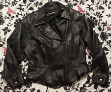 Womens Wilsons Leather Black Biker Jacket Zip Lining Thinsulate LARGE L