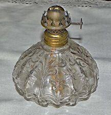 Vintage EAPG Fluted Pattern Glass Flowers Miniature Oil Lamp